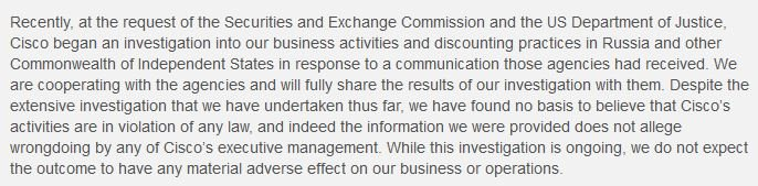 Screen shot from Cisco first disclosing their FCPA probe Dec-2013