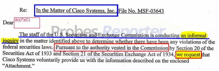 """Excerpt from an SEC letter showing the """"request"""" recieved by Cisco was really notice of an informal inquiry."""
