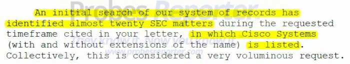 """Excerpt from SEC letter showing Cisco has """"almost twenty"""" matters with the SEC"""