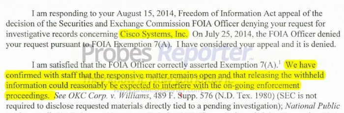 Excerpt from SEC letter confirming investigation of Cisco